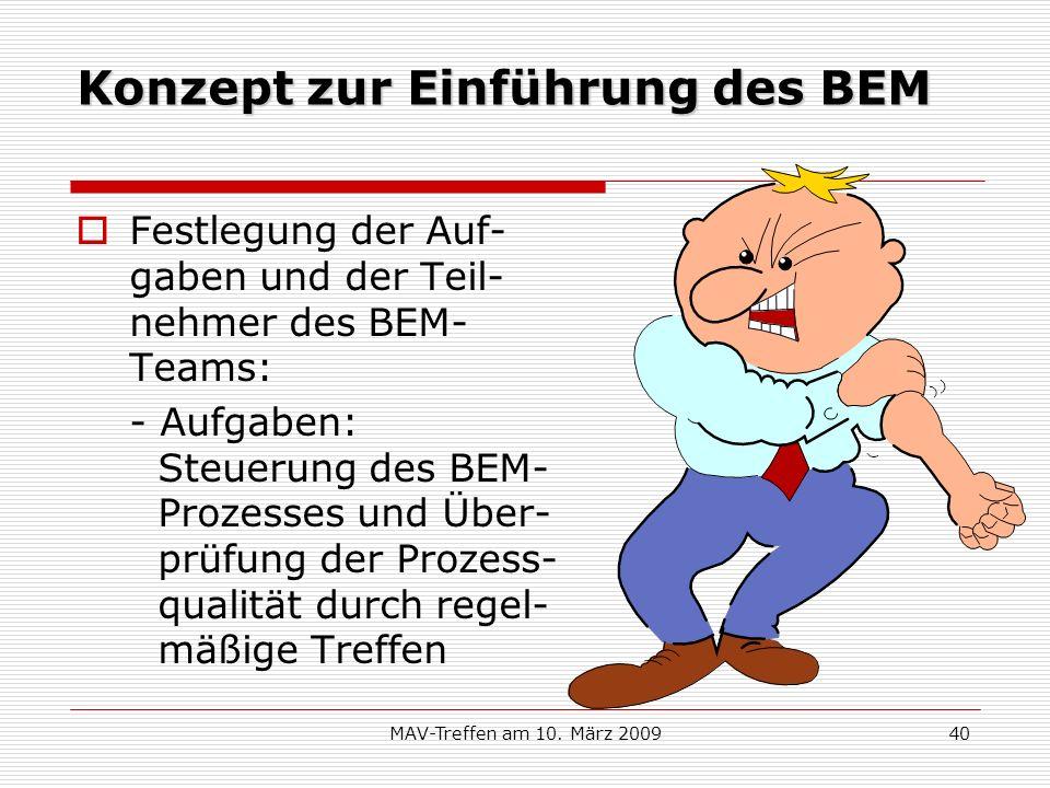 MAV-Treffen am 10. März 200940 Konzept zur Einführung des BEM Festlegung der Auf- gaben und der Teil- nehmer des BEM- Teams: - Aufgaben: Steuerung des