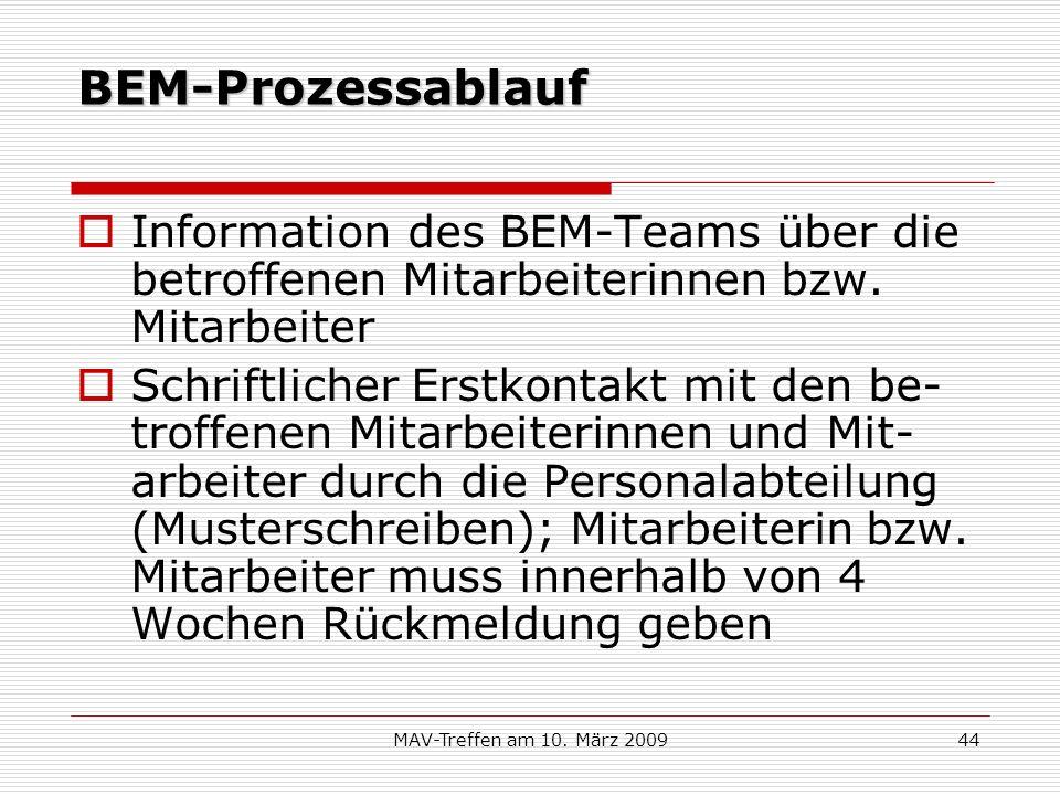 MAV-Treffen am 10. März 200944 BEM-Prozessablauf Information des BEM-Teams über die betroffenen Mitarbeiterinnen bzw. Mitarbeiter Schriftlicher Erstko