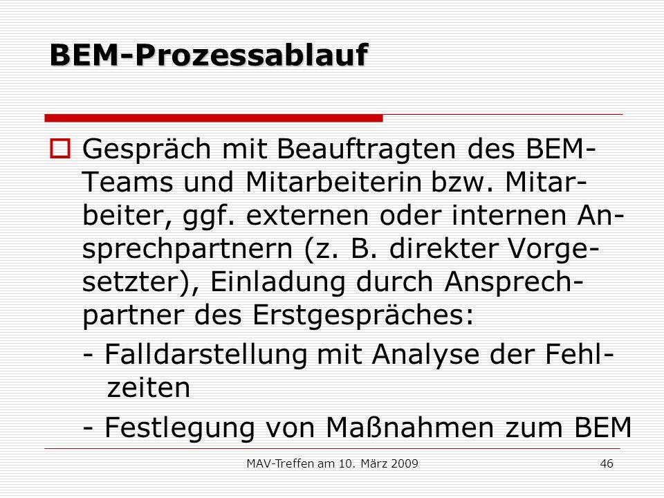 MAV-Treffen am 10. März 200946 BEM-Prozessablauf Gespräch mit Beauftragten des BEM- Teams und Mitarbeiterin bzw. Mitar- beiter, ggf. externen oder int