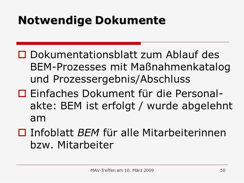 MAV-Treffen am 10. März 200950 Notwendige Dokumente Dokumentationsblatt zum Ablauf des BEM-Prozesses mit Maßnahmenkatalog und Prozessergebnis/Abschlus