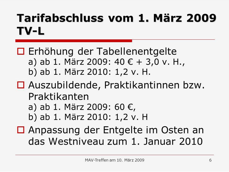 MAV-Treffen am 10. März 20096 Tarifabschluss vom 1. März 2009 TV-L Erhöhung der Tabellenentgelte a) ab 1. März 2009: 40 + 3,0 v. H., b) ab 1. März 201