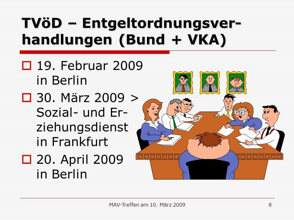 MAV-Treffen am 10. März 20098 TVöD – Entgeltordnungsver- handlungen (Bund + VKA) 19. Februar 2009 in Berlin 30. März 2009 > Sozial- und Er- ziehungsdi