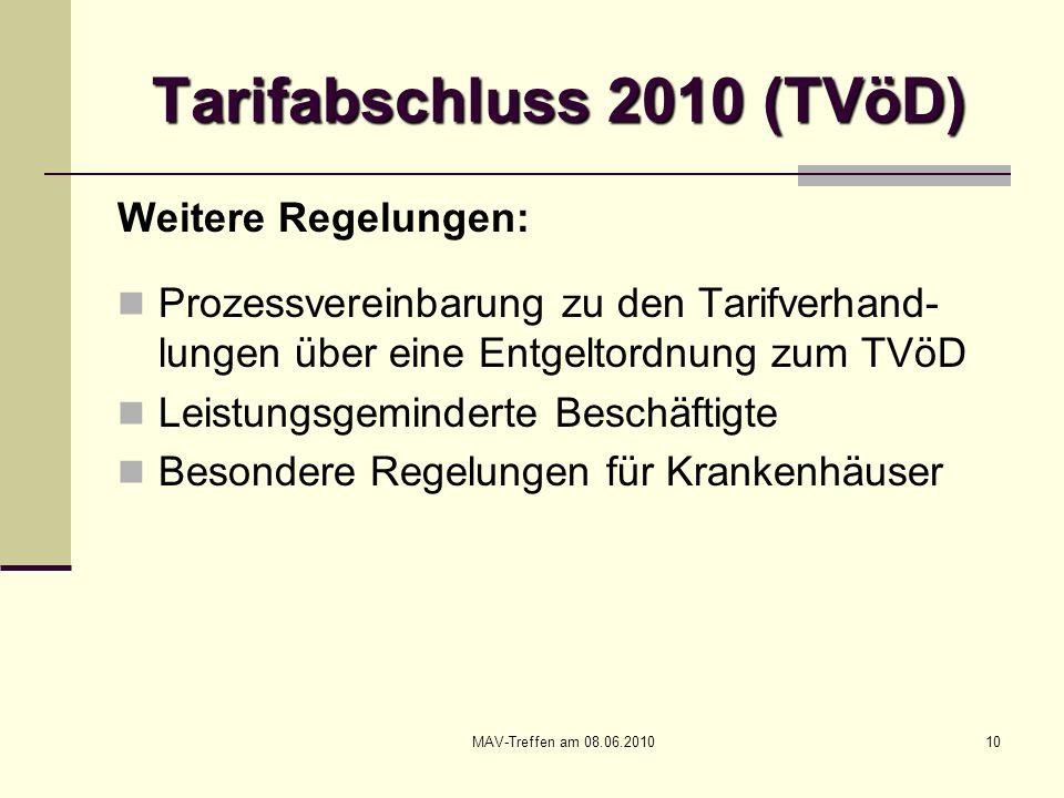 MAV-Treffen am 08.06.201010 Tarifabschluss 2010 (TVöD) Weitere Regelungen: Prozessvereinbarung zu den Tarifverhand- lungen über eine Entgeltordnung zu