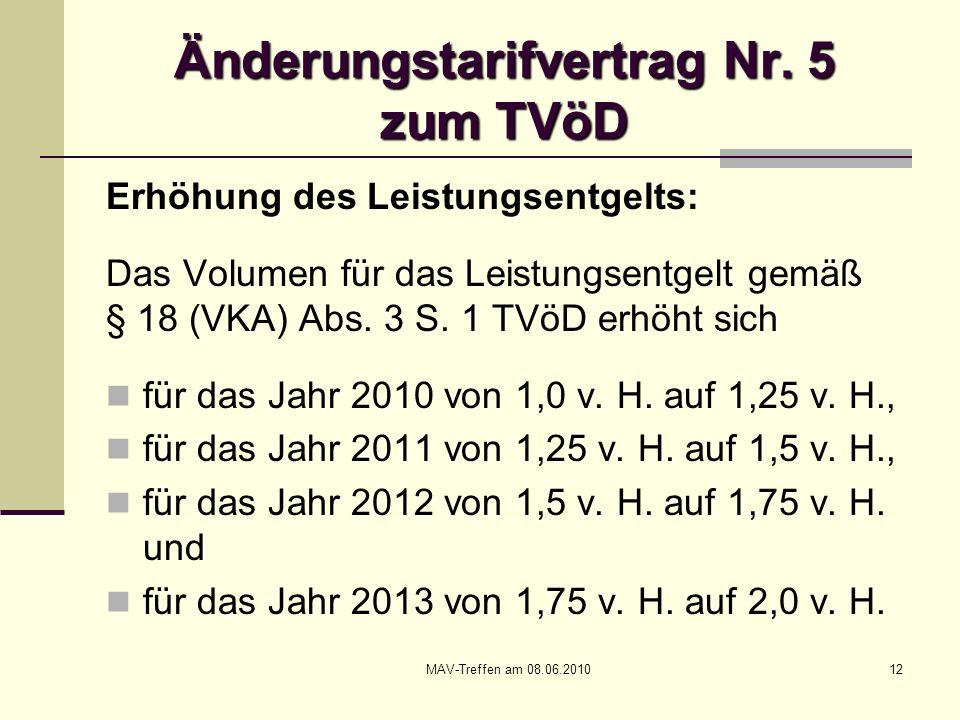 MAV-Treffen am 08.06.201012 Änderungstarifvertrag Nr. 5 zum TVöD Erhöhung des Leistungsentgelts: Das Volumen für das Leistungsentgelt gemäß § 18 (VKA)