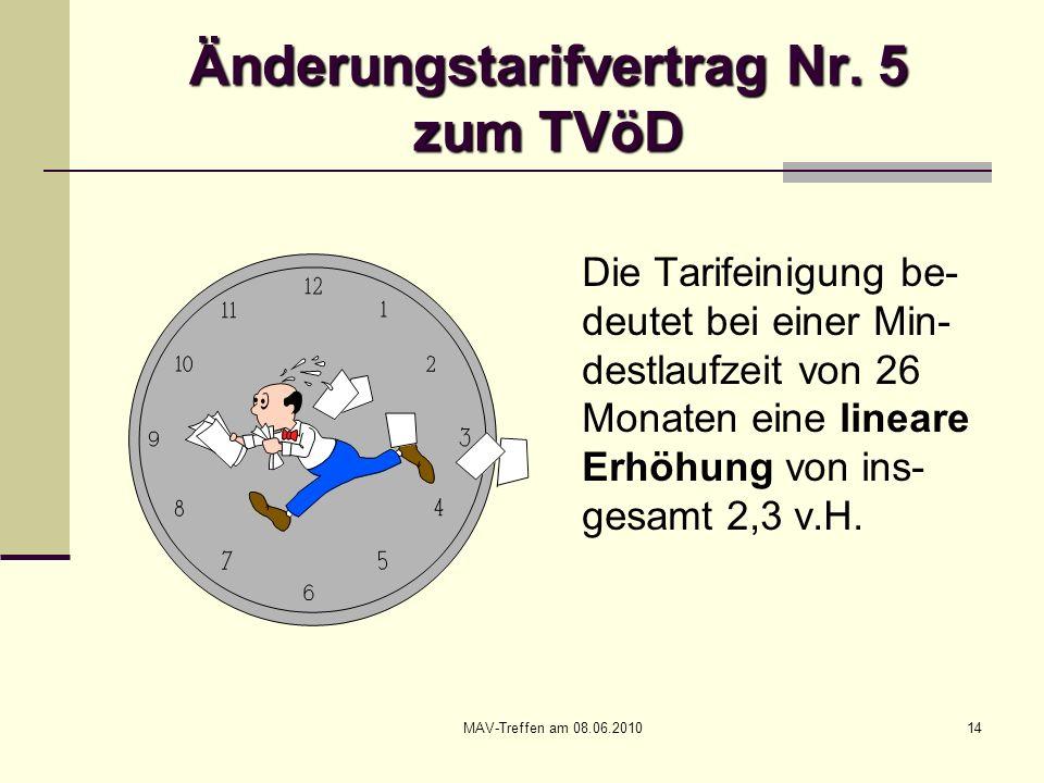 MAV-Treffen am 08.06.201014 Änderungstarifvertrag Nr. 5 zum TVöD Die Tarifeinigung be- deutet bei einer Min- destlaufzeit von 26 Monaten eine lineare