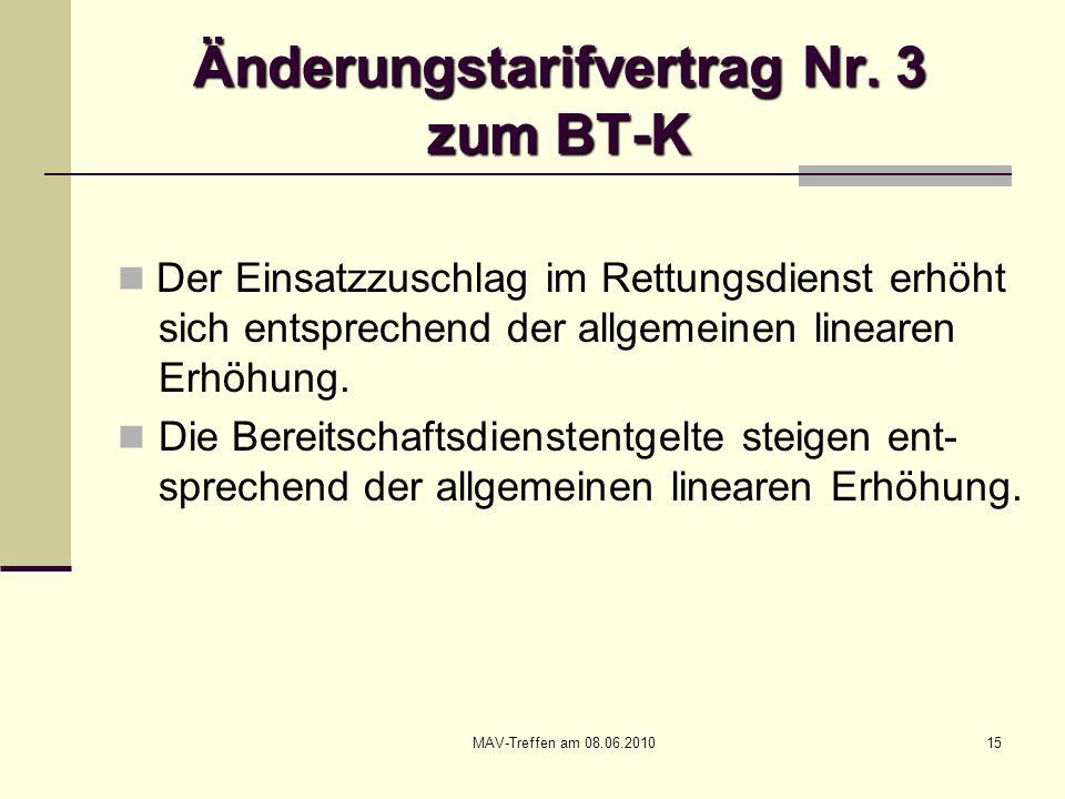 MAV-Treffen am 08.06.201015 Änderungstarifvertrag Nr. 3 zum BT-K Der Einsatzzuschlag im Rettungsdienst erhöht sich entsprechend der allgemeinen linear