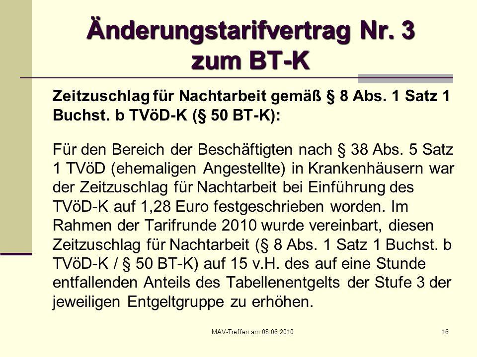 MAV-Treffen am 08.06.201016 Änderungstarifvertrag Nr. 3 zum BT-K Zeitzuschlag für Nachtarbeit gemäß § 8 Abs. 1 Satz 1 Buchst. b TVöD-K (§ 50 BT-K): Fü