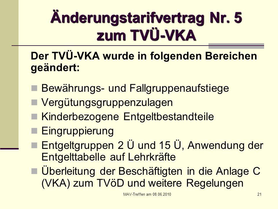 MAV-Treffen am 08.06.201021 Änderungstarifvertrag Nr. 5 zum TVÜ-VKA Der TVÜ-VKA wurde in folgenden Bereichen geändert: Bewährungs- und Fallgruppenaufs