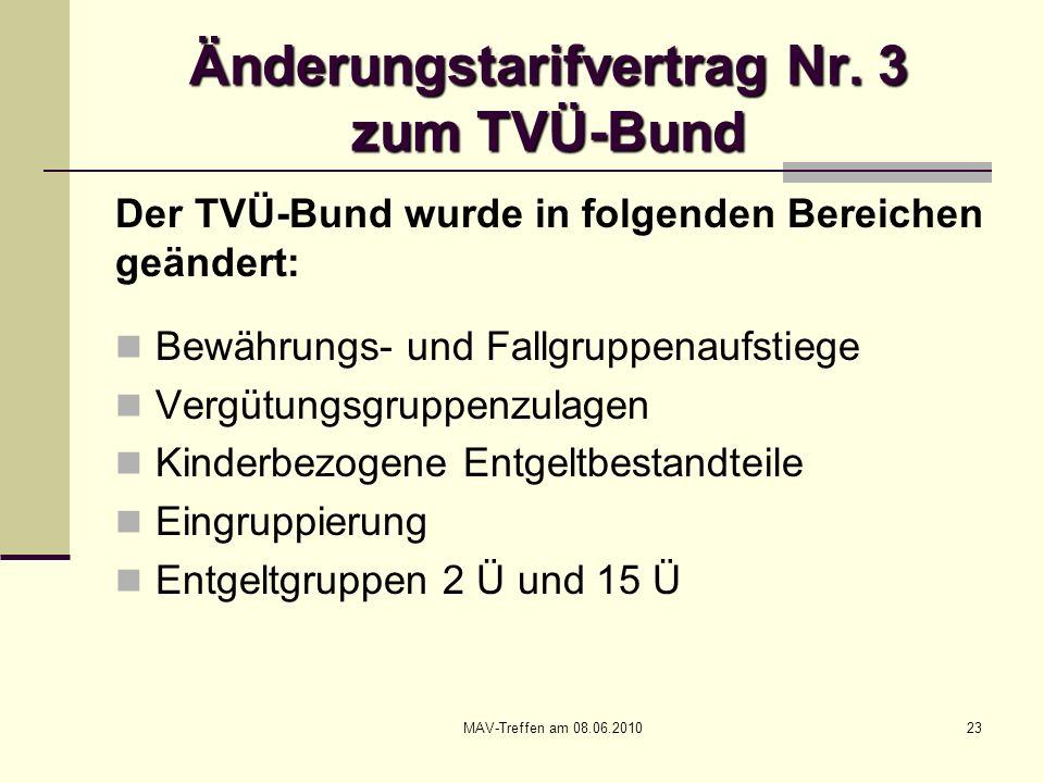 MAV-Treffen am 08.06.201023 Änderungstarifvertrag Nr. 3 zum TVÜ-Bund Der TVÜ-Bund wurde in folgenden Bereichen geändert: Bewährungs- und Fallgruppenau