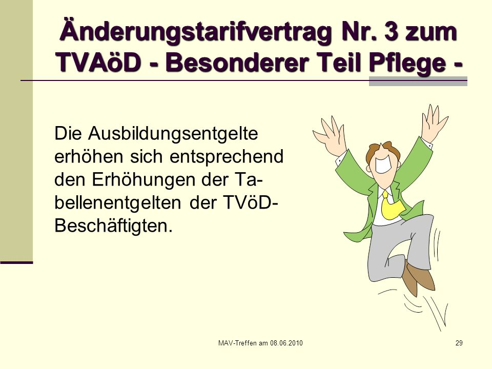 MAV-Treffen am 08.06.201029 Änderungstarifvertrag Nr. 3 zum TVAöD - Besonderer Teil Pflege - Die Ausbildungsentgelte erhöhen sich entsprechend den Erh