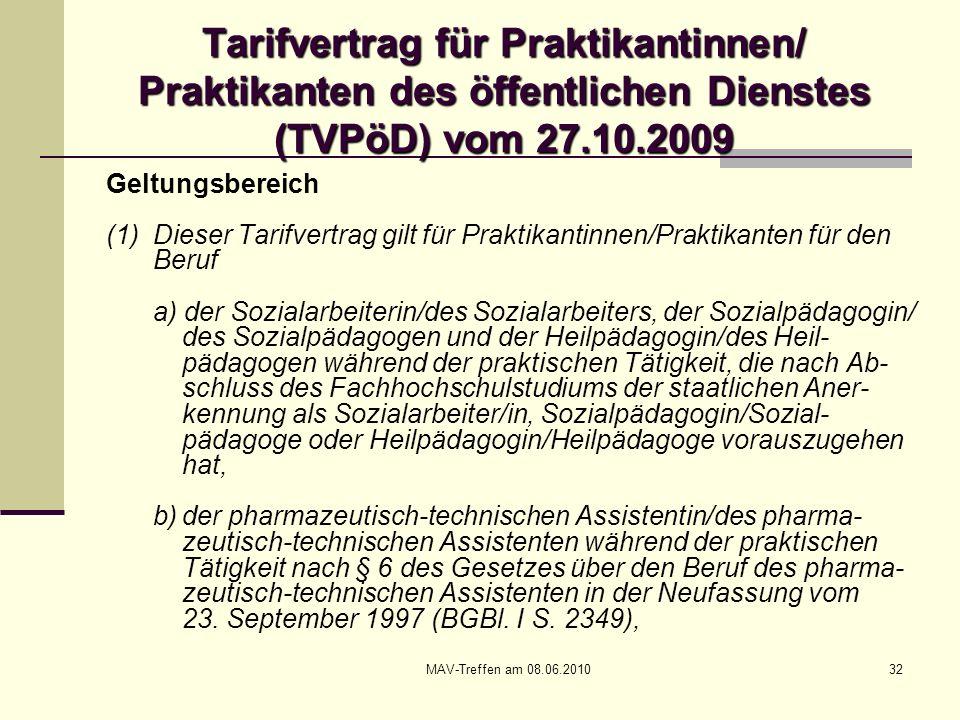 MAV-Treffen am 08.06.201032 Tarifvertrag für Praktikantinnen/ Praktikanten des öffentlichen Dienstes (TVPöD) vom 27.10.2009 Geltungsbereich (1) Dieser