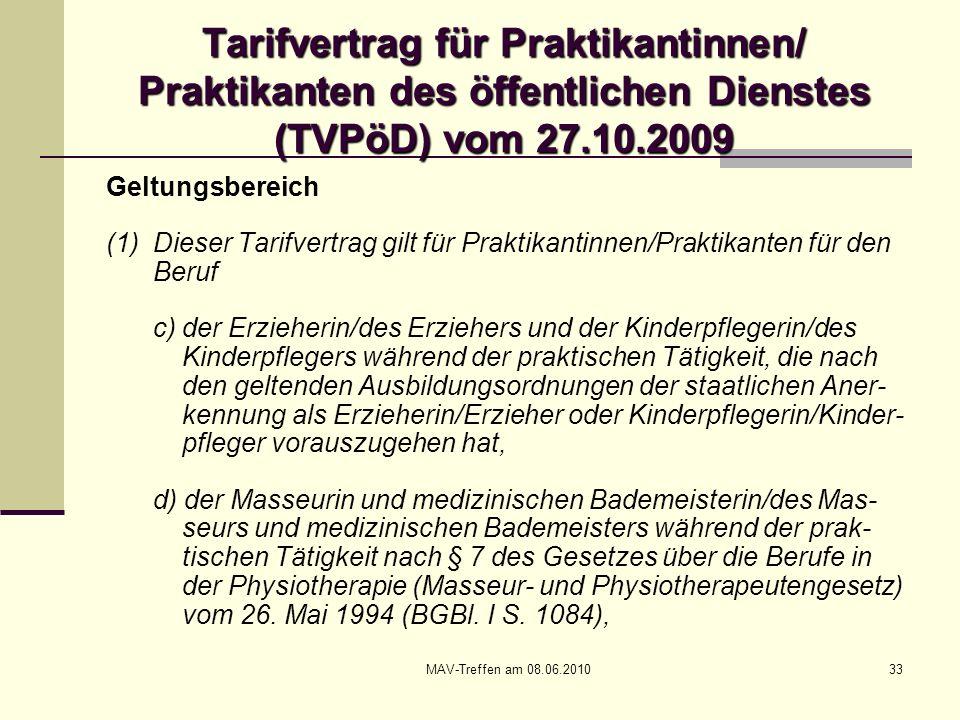 MAV-Treffen am 08.06.201033 Tarifvertrag für Praktikantinnen/ Praktikanten des öffentlichen Dienstes (TVPöD) vom 27.10.2009 Geltungsbereich (1) Dieser