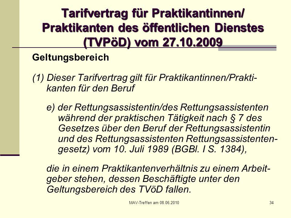 MAV-Treffen am 08.06.201034 Tarifvertrag für Praktikantinnen/ Praktikanten des öffentlichen Dienstes (TVPöD) vom 27.10.2009 Geltungsbereich (1) Dieser