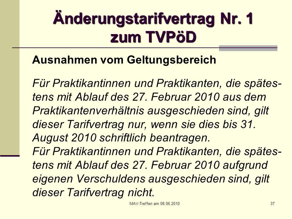 MAV-Treffen am 08.06.201037 Änderungstarifvertrag Nr. 1 zum TVPöD Ausnahmen vom Geltungsbereich Für Praktikantinnen und Praktikanten, die spätes- tens