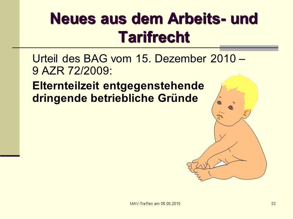 MAV-Treffen am 08.06.201053 Neues aus dem Arbeits- und Tarifrecht Urteil des BAG vom 15. Dezember 2010 – 9 AZR 72/2009: Elternteilzeit entgegenstehend