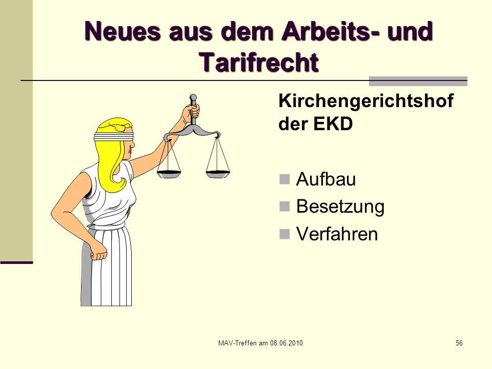 MAV-Treffen am 08.06.201056 Neues aus dem Arbeits- und Tarifrecht Kirchengerichtshof der EKD Aufbau Besetzung Verfahren