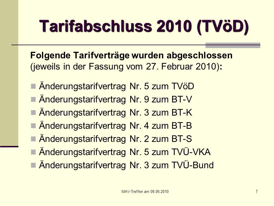 MAV-Treffen am 08.06.201048 Prozessvereinbarung zu den Tarif- verhandlungen über eine Entgelt- ordnung zum TVöD Die Tarifvertragsparteien stimmen darin über- ein, die Tarifverhandlungen über eine Entgelt- ordnung zum TVöD unverzüglich nach Ab- schluss der Tarifrunde 2010.