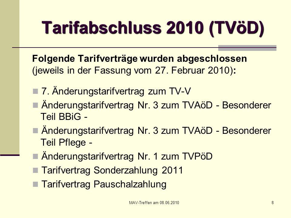 MAV-Treffen am 08.06.20109 Tarifabschluss 2010 (TVöD) Folgende Tarifverträge wurden abgeschlossen (jeweils in der Fassung vom 27.