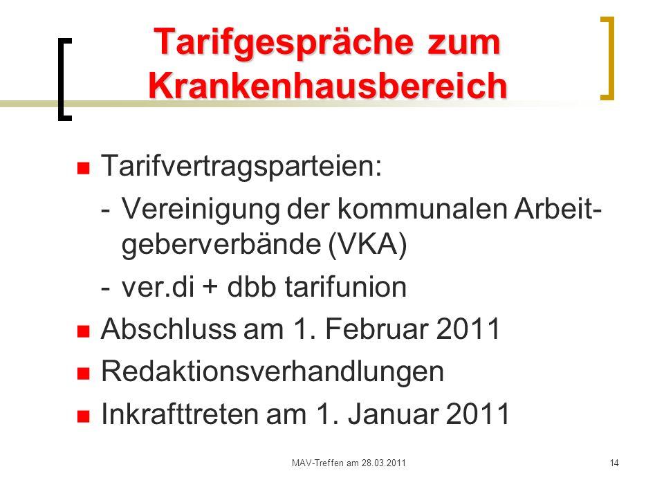 MAV-Treffen am 28.03.201114 Tarifgespräche zum Krankenhausbereich Tarifvertragsparteien: - Vereinigung der kommunalen Arbeit- geberverbände (VKA) -ver