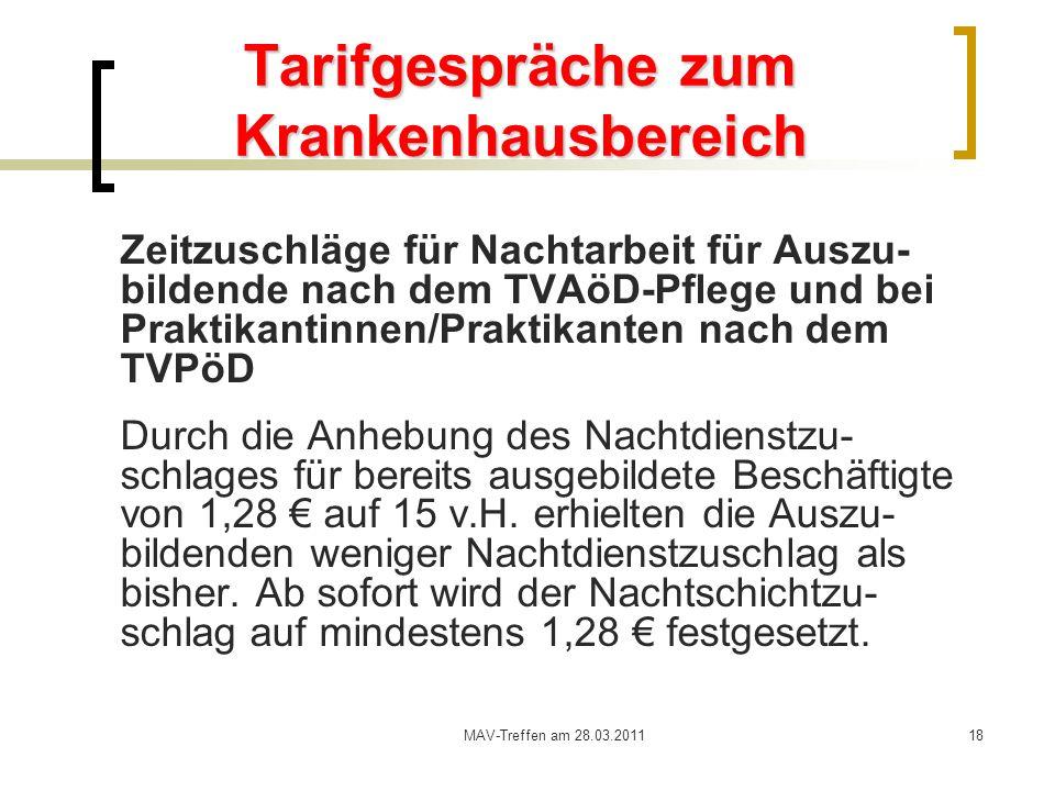 MAV-Treffen am 28.03.201118 Tarifgespräche zum Krankenhausbereich Zeitzuschläge für Nachtarbeit für Auszu- bildende nach dem TVAöD-Pflege und bei Prak