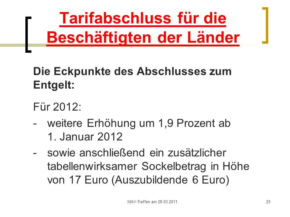 MAV-Treffen am 28.03.201125 Tarifabschluss für die Beschäftigten der Länder Die Eckpunkte des Abschlusses zum Entgelt: Für 2012: - weitere Erhöhung um