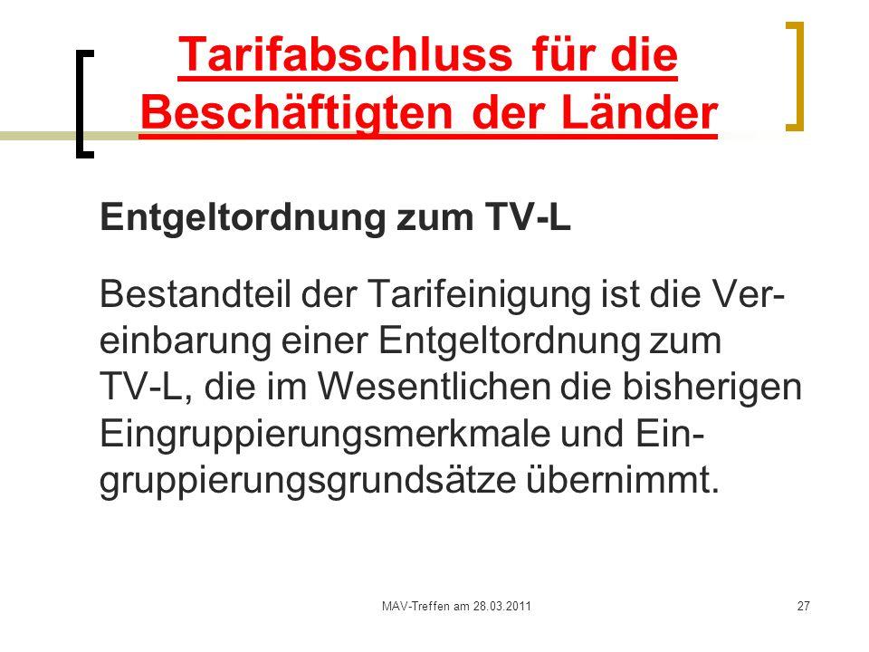 MAV-Treffen am 28.03.201127 Tarifabschluss für die Beschäftigten der Länder Entgeltordnung zum TV-L Bestandteil der Tarifeinigung ist die Ver- einbaru