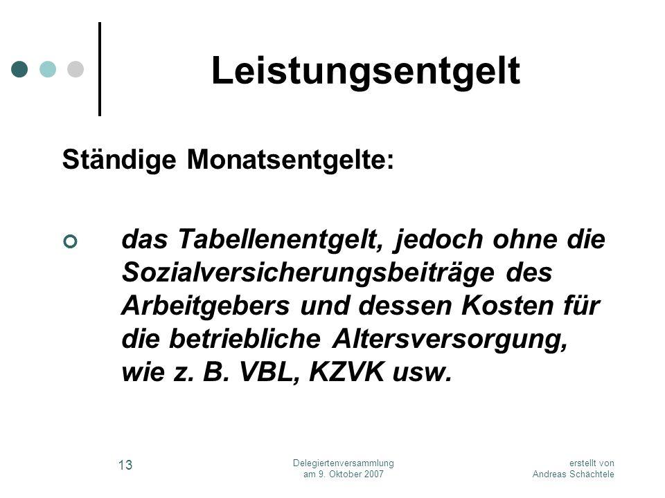 erstellt von Andreas Schächtele Delegiertenversammlung am 9. Oktober 2007 13 Leistungsentgelt Ständige Monatsentgelte: das Tabellenentgelt, jedoch ohn