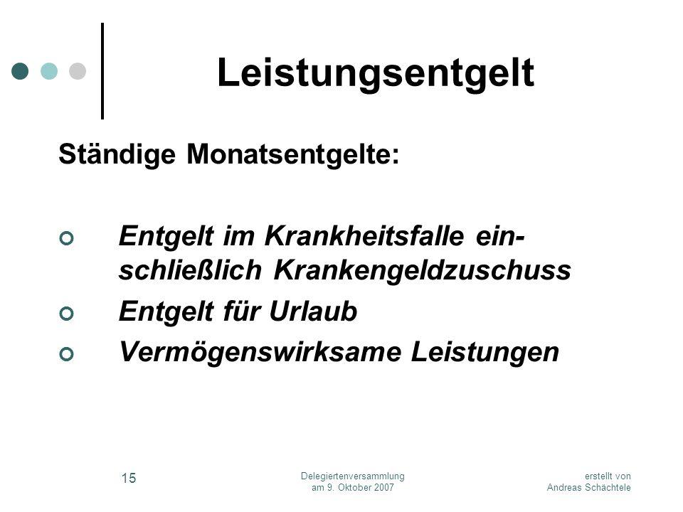 erstellt von Andreas Schächtele Delegiertenversammlung am 9. Oktober 2007 15 Leistungsentgelt Ständige Monatsentgelte: Entgelt im Krankheitsfalle ein-