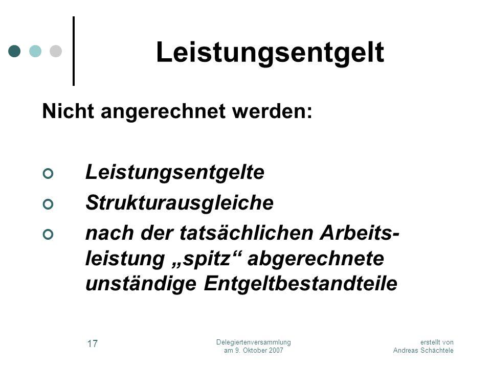 erstellt von Andreas Schächtele Delegiertenversammlung am 9. Oktober 2007 17 Leistungsentgelt Nicht angerechnet werden: Leistungsentgelte Strukturausg