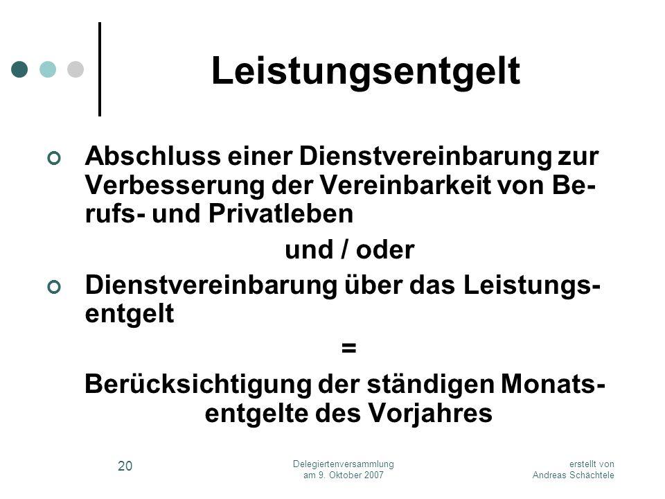 erstellt von Andreas Schächtele Delegiertenversammlung am 9. Oktober 2007 20 Leistungsentgelt Abschluss einer Dienstvereinbarung zur Verbesserung der