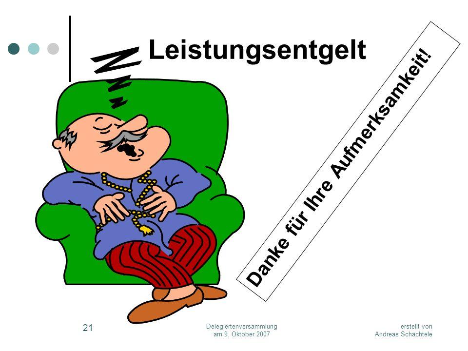 erstellt von Andreas Schächtele Delegiertenversammlung am 9. Oktober 2007 21 Leistungsentgelt Danke für Ihre Aufmerksamkeit!
