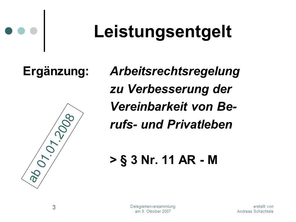 erstellt von Andreas Schächtele Delegiertenversammlung am 9. Oktober 2007 3 Leistungsentgelt Ergänzung:Arbeitsrechtsregelung zu Verbesserung der Verei