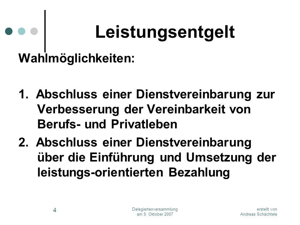 erstellt von Andreas Schächtele Delegiertenversammlung am 9. Oktober 2007 4 Leistungsentgelt Wahlmöglichkeiten: 1. Abschluss einer Dienstvereinbarung