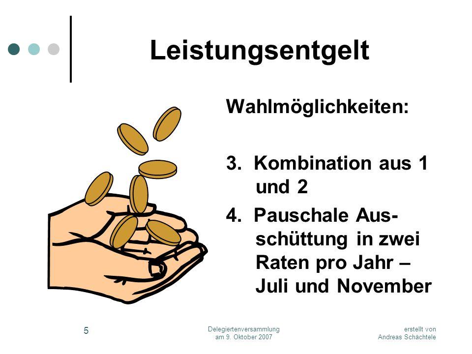 erstellt von Andreas Schächtele Delegiertenversammlung am 9. Oktober 2007 5 Leistungsentgelt Wahlmöglichkeiten: 3. Kombination aus 1 und 2 4. Pauschal