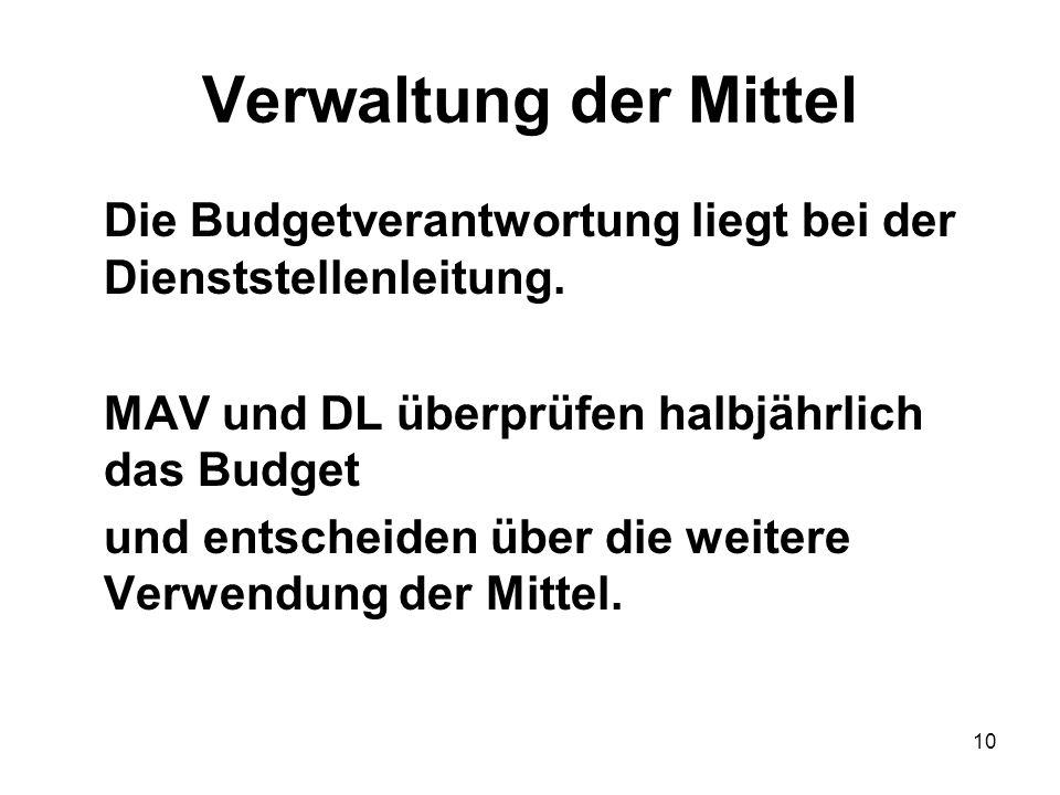 10 Verwaltung der Mittel Die Budgetverantwortung liegt bei der Dienststellenleitung.