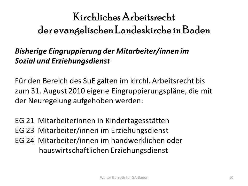 Walter Berroth für GA Baden10 Kirchliches Arbeitsrecht der evangelischen Landeskirche in Baden Bisherige Eingruppierung der Mitarbeiter/innen im Sozia