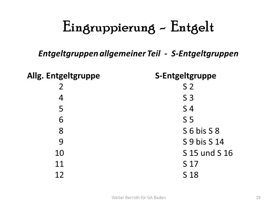 Walter Berroth für GA Baden19 Eingruppierung - Entgelt Entgeltgruppen allgemeiner Teil - S-Entgeltgruppen Allg. Entgeltgruppe S-Entgeltgruppe 2S 2 4S