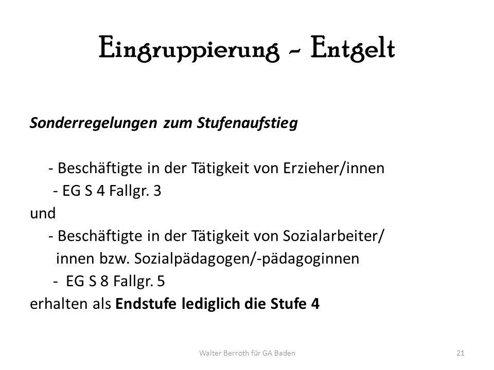 Walter Berroth für GA Baden21 Eingruppierung - Entgelt Sonderregelungen zum Stufenaufstieg - Beschäftigte in der Tätigkeit von Erzieher/innen - EG S 4