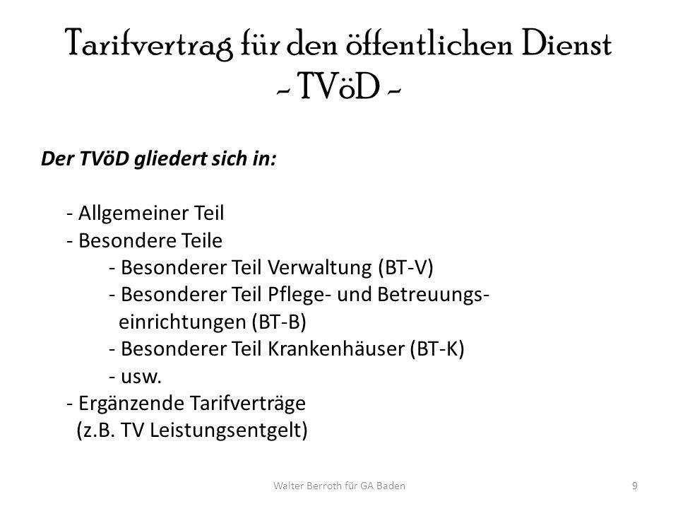 Walter Berroth für GA Baden9 Tarifvertrag für den öffentlichen Dienst - TVöD - Der TVöD gliedert sich in: - Allgemeiner Teil - Besondere Teile - Beson