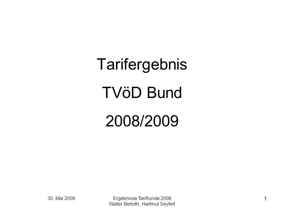 30. Mai 2008Ergebnisse Tarifrunde 2008 Walter Berroth, Hartmut Seyfert 1 Tarifergebnis TVöD Bund 2008/2009