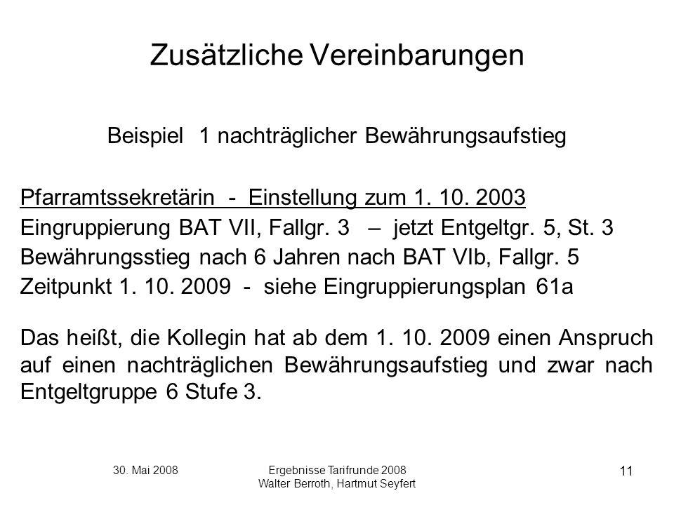 30. Mai 2008Ergebnisse Tarifrunde 2008 Walter Berroth, Hartmut Seyfert 11 Zusätzliche Vereinbarungen Beispiel 1 nachträglicher Bewährungsaufstieg Pfar