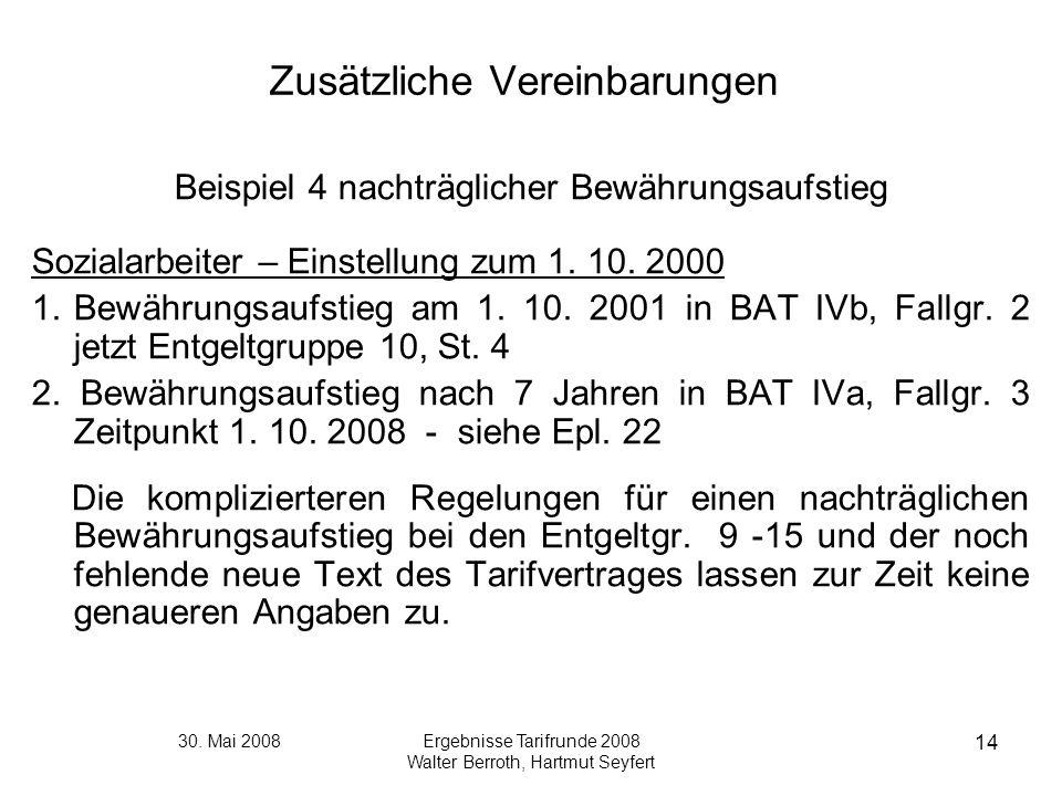 30. Mai 2008Ergebnisse Tarifrunde 2008 Walter Berroth, Hartmut Seyfert 14 Zusätzliche Vereinbarungen Beispiel 4 nachträglicher Bewährungsaufstieg Sozi