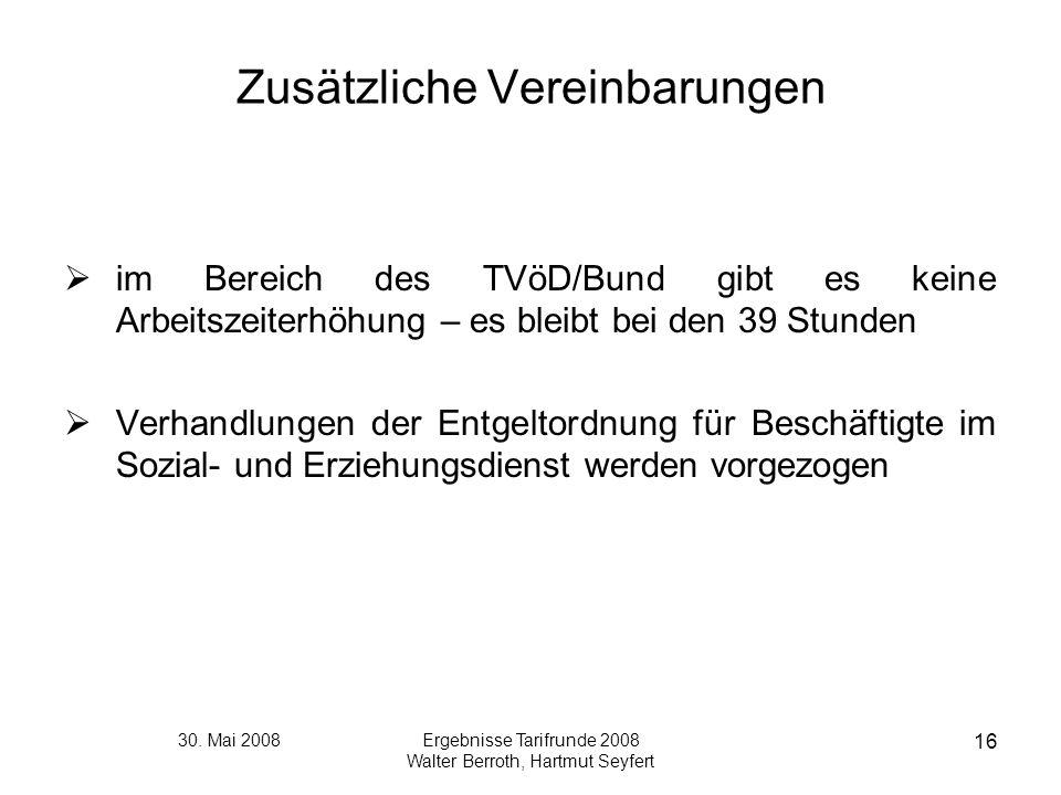 30. Mai 2008Ergebnisse Tarifrunde 2008 Walter Berroth, Hartmut Seyfert 16 Zusätzliche Vereinbarungen im Bereich des TVöD/Bund gibt es keine Arbeitszei
