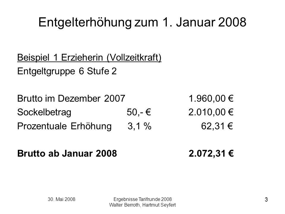 30. Mai 2008Ergebnisse Tarifrunde 2008 Walter Berroth, Hartmut Seyfert 3 Entgelterhöhung zum 1. Januar 2008 Beispiel 1 Erzieherin (Vollzeitkraft) Entg