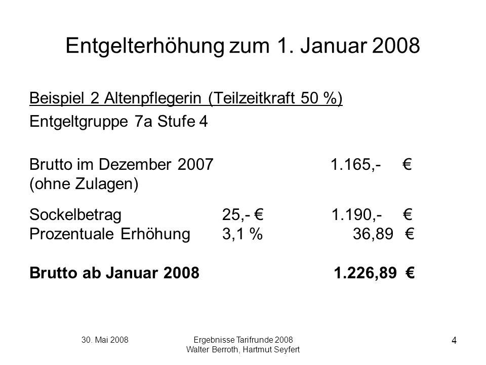 30. Mai 2008Ergebnisse Tarifrunde 2008 Walter Berroth, Hartmut Seyfert 4 Entgelterhöhung zum 1. Januar 2008 Beispiel 2 Altenpflegerin (Teilzeitkraft 5