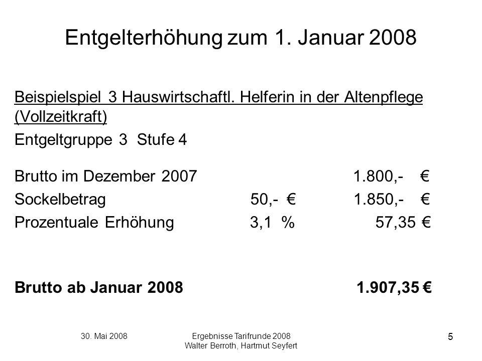 30. Mai 2008Ergebnisse Tarifrunde 2008 Walter Berroth, Hartmut Seyfert 5 Entgelterhöhung zum 1. Januar 2008 Beispielspiel 3 Hauswirtschaftl. Helferin