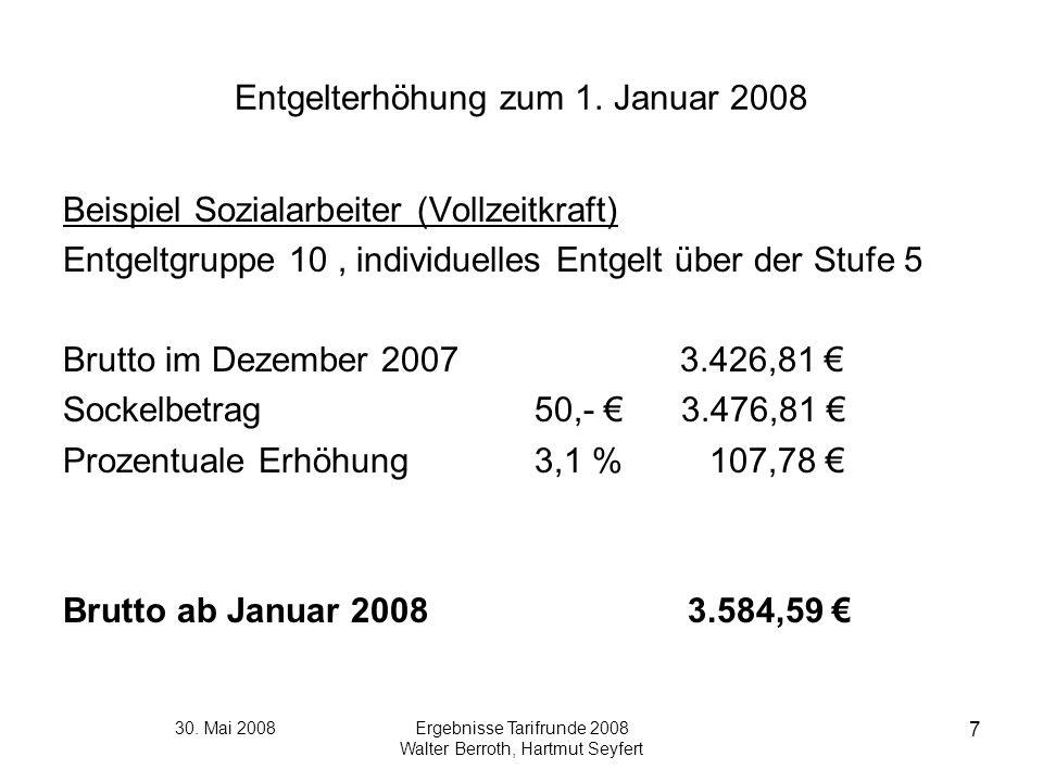 30. Mai 2008Ergebnisse Tarifrunde 2008 Walter Berroth, Hartmut Seyfert 7 Entgelterhöhung zum 1. Januar 2008 Beispiel Sozialarbeiter (Vollzeitkraft) En