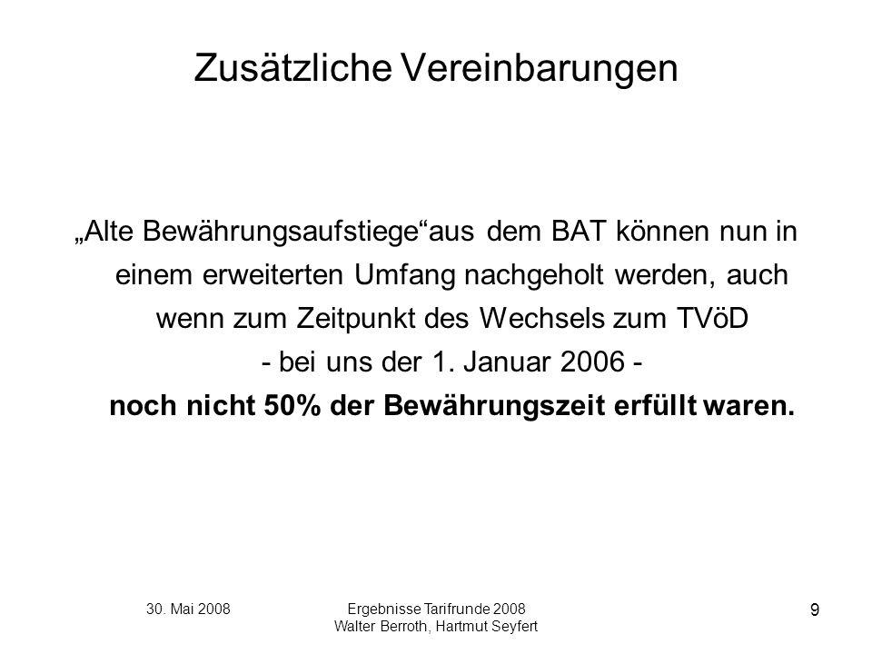 30. Mai 2008Ergebnisse Tarifrunde 2008 Walter Berroth, Hartmut Seyfert 9 Zusätzliche Vereinbarungen Alte Bewährungsaufstiegeaus dem BAT können nun in