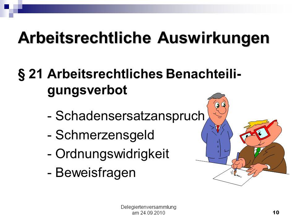 Delegiertenversammlung am 24.09.201010 Arbeitsrechtliche Auswirkungen § 21 Arbeitsrechtliches Benachteili- gungsverbot - Schadensersatzanspruch - Schm