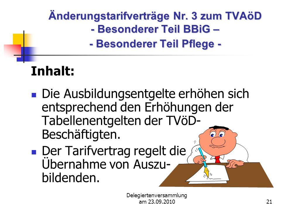 Delegiertenversammlung am 23.09.201021 Änderungstarifverträge Nr.